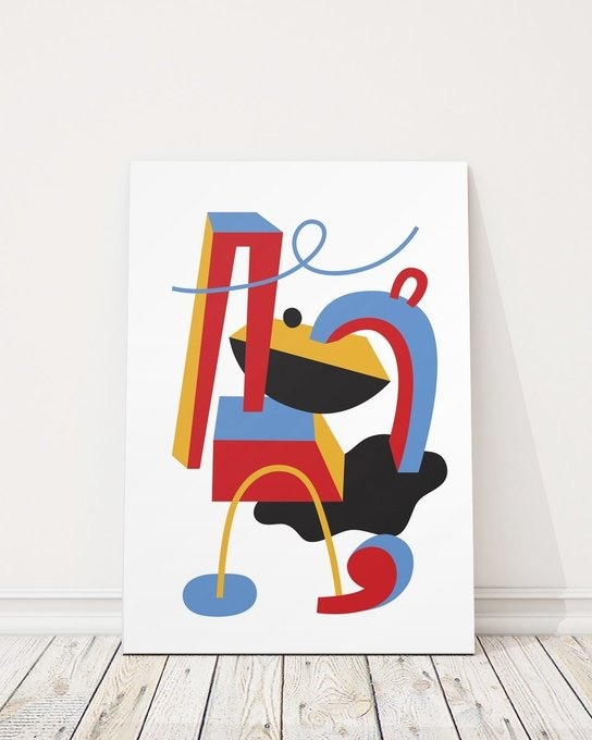 Постер Запятая/белый на холсте