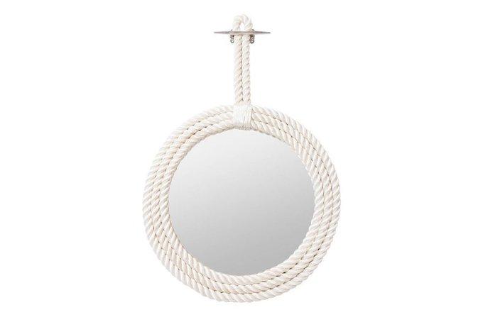 Настенное зеркало в капроновом канате белого цвета