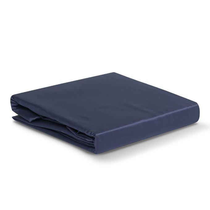 Простыня Essential из сатина темно-синего цвета 180х270
