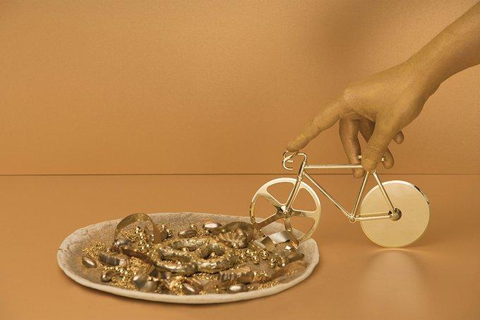 Нож для пиццы из нержавеющей стали Doiy the fixie золотой