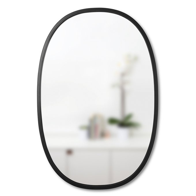 Настенное зеркало овальное HUB в раме из чёрного каучука