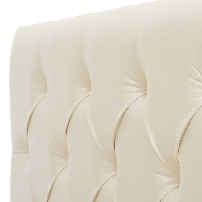 Кровать Монблан с подъемным механизмом из бежевой экокожи 140х200