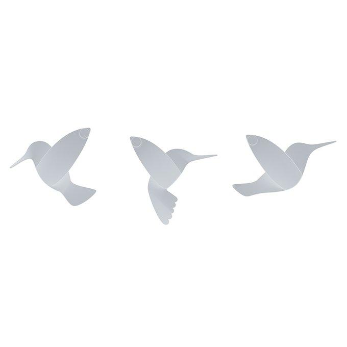 Декор для стен hummingbird из девяти элементов белого цвета