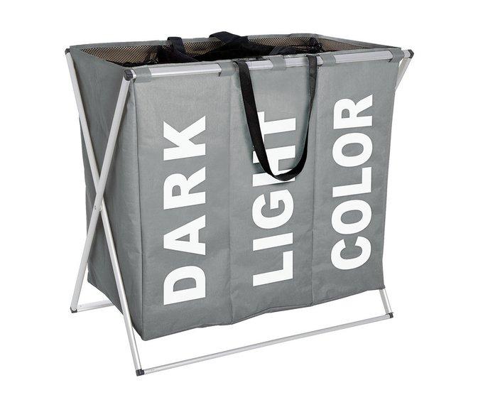 Корзина для белья тройная серого цвета