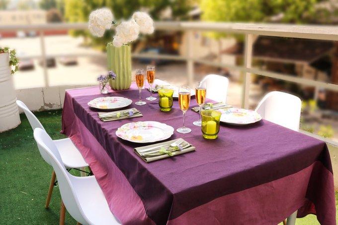 Скатерть  «Летний хит»  фиолетовая  с лиловой оборкой