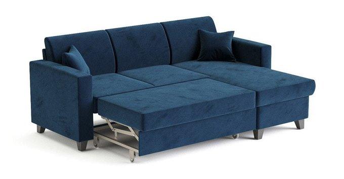 Угловой диван-кровать Эмилио темно-синего цвета