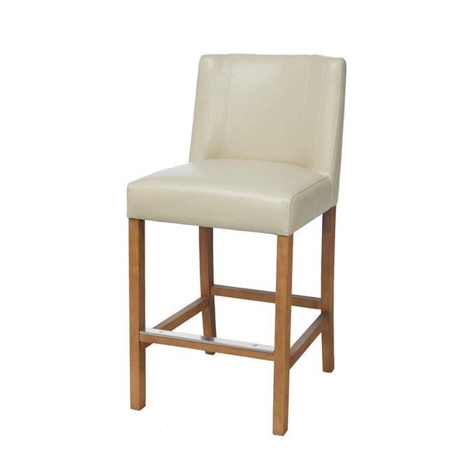 Барный стул Cadi Counter белого цвета на деревянных ножках