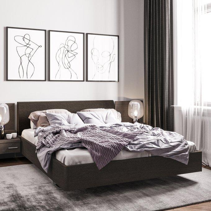 Кровать Элеонора 160х200 с изголовьем серого цвета