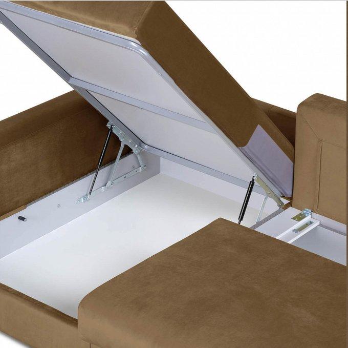 Угловой диван-кровать Мэдисон Лувр коричневого цвета