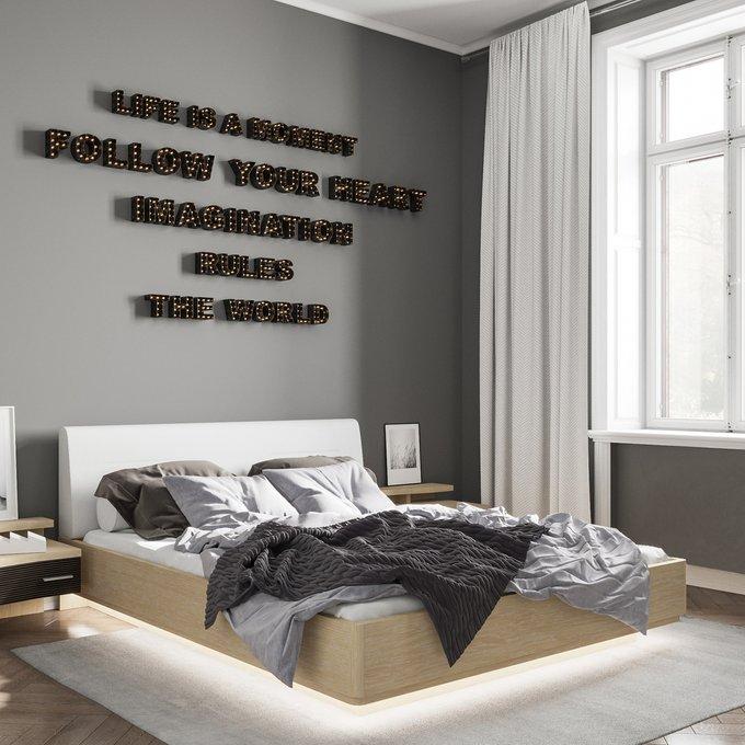 Кровать Элеонора 160х200 с изголовьем белого цвета и подъемным механизмом