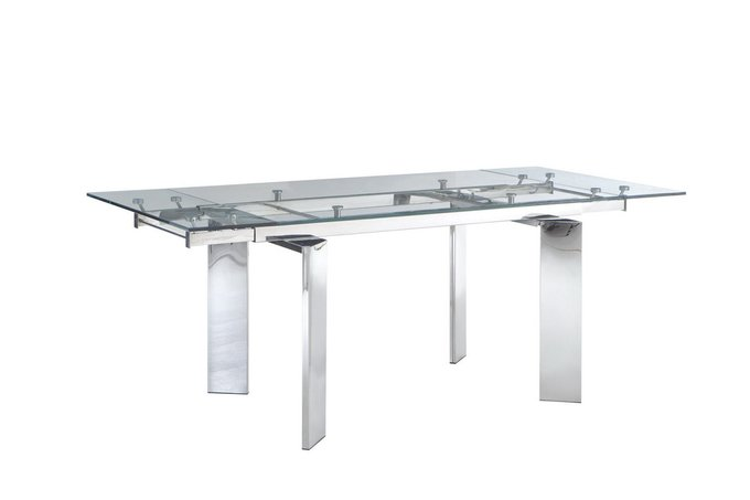 Обеденный раздвижной стол со стеклянной столешницей