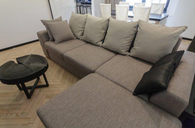 Раскладной угловой диван Эстет серого цвета