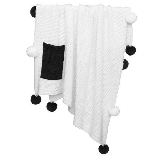Плед Pompon белого цвета с белыми и черными помпонами