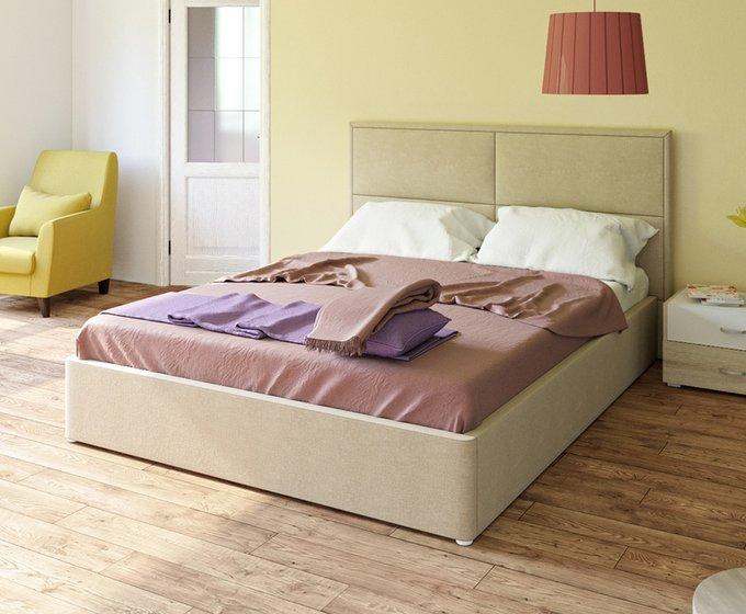 Кровать Прага бежевого цвета с ортопедическим основанием 160х200