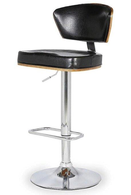 Барный стул с сидением из экокожи и шпона ореха
