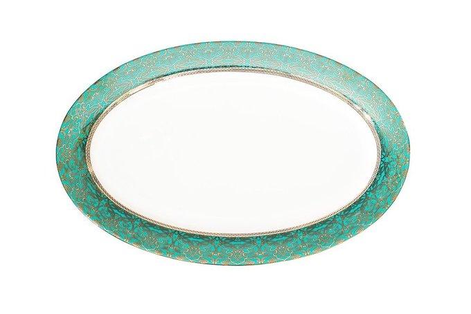 Овальная тарелка с бирюзовым орнаментом