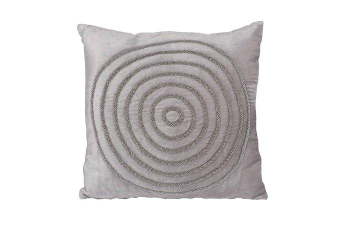 Подушка с бисером Круги серебряного цвета
