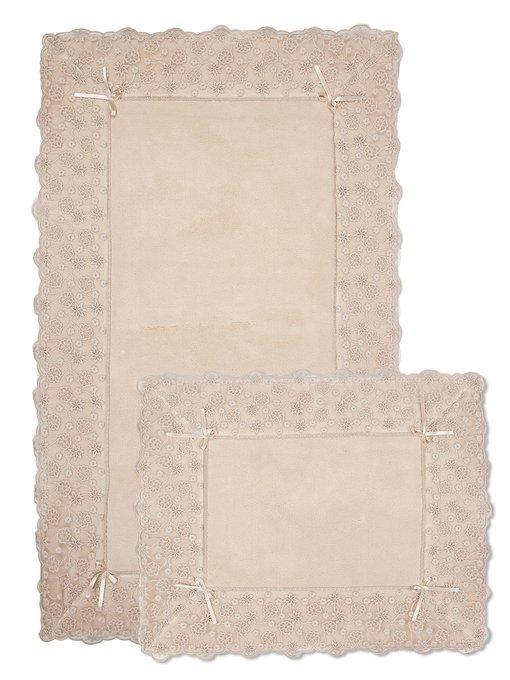 Набор из двух ковриков для ванной из хлопка светло-бежевого цвета