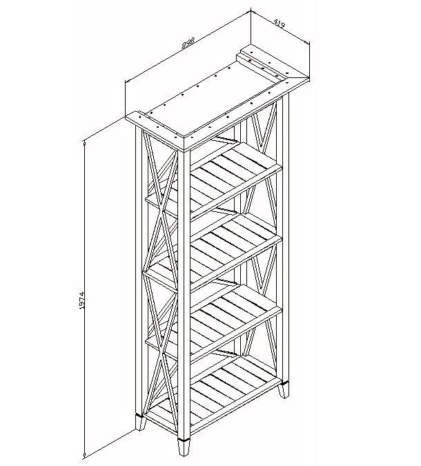 Шкаф-стеллаж для книг La Mer белого цвета