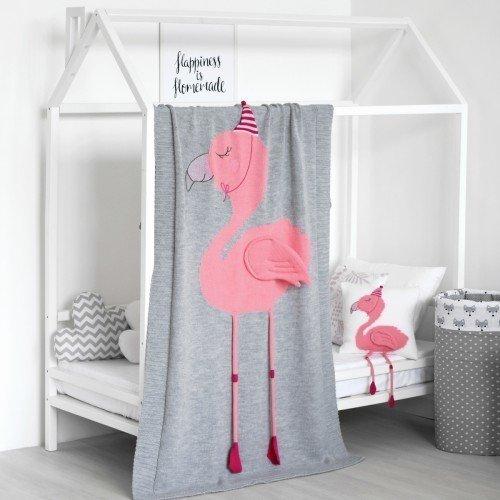 Плед Фламинго big серого цвета