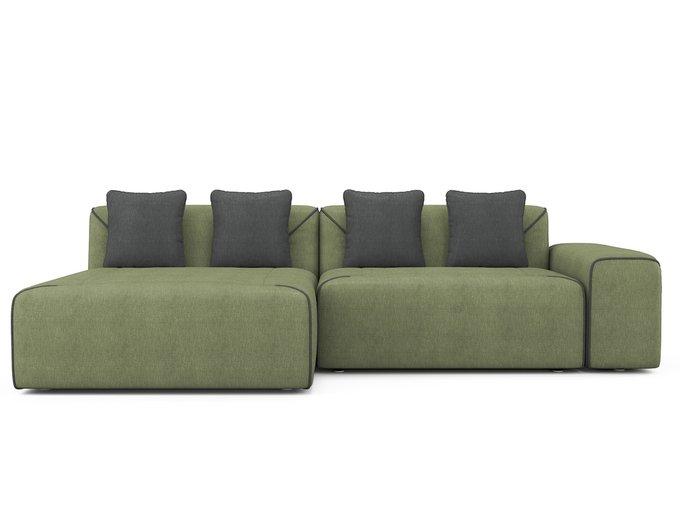 Угловой раскладной диван Portu левый оливкового цвета