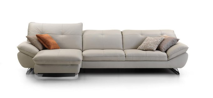 Угловой кожаный диван с кушеткой Trinidad светло-серого цвета