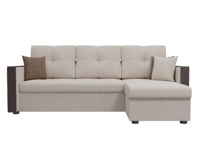 Угловой диван-кровать Валенсия бежевого цвета