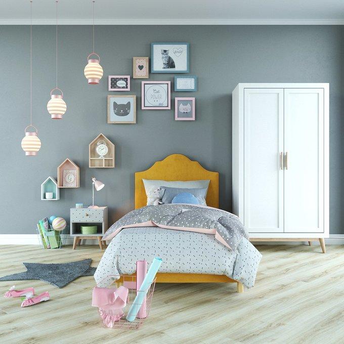 Односпальная кровать Tiana розового цвета 100х200