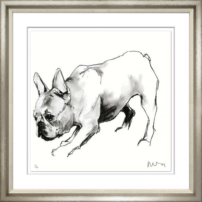 Портрет собаки углем и чернилами