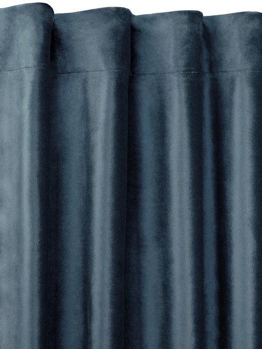 Штора велюр Smoke  темно-синего цвета