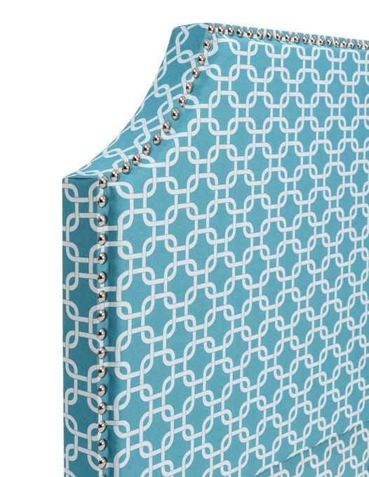 КРОВАТЬ с мягким изголовьем и голубым орнаментом 180х200