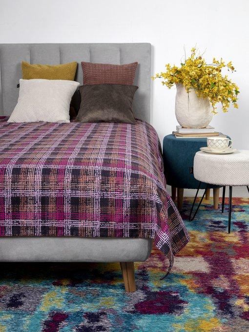 Покрывало Uno Quadro Violet 140x210 коричнево-розового цвета
