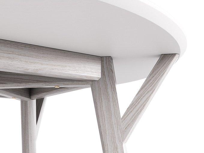 Обеденный стол Circle белёный дуб / молочный