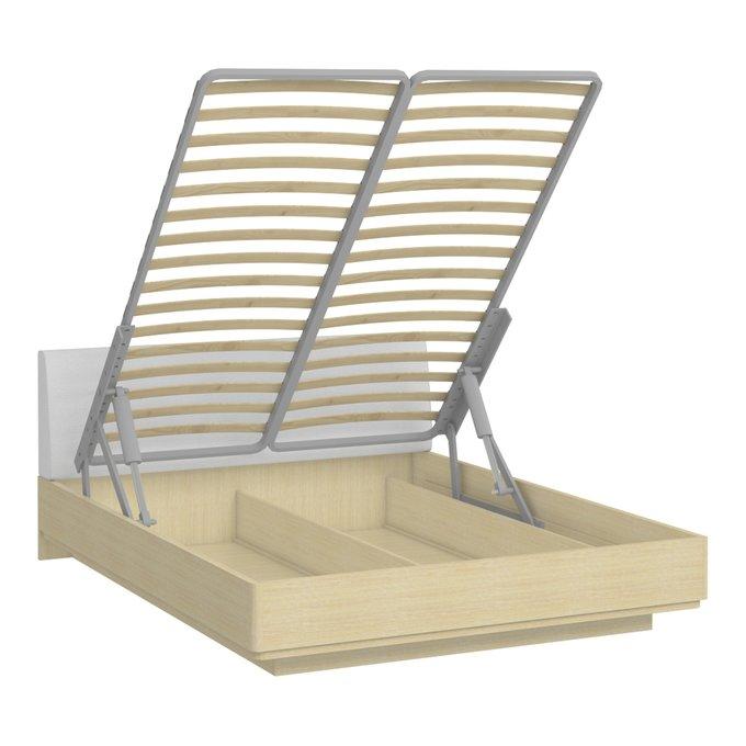 Кровать Элеонора 160х200 с изголовье белого цвета и подъемным механизмом