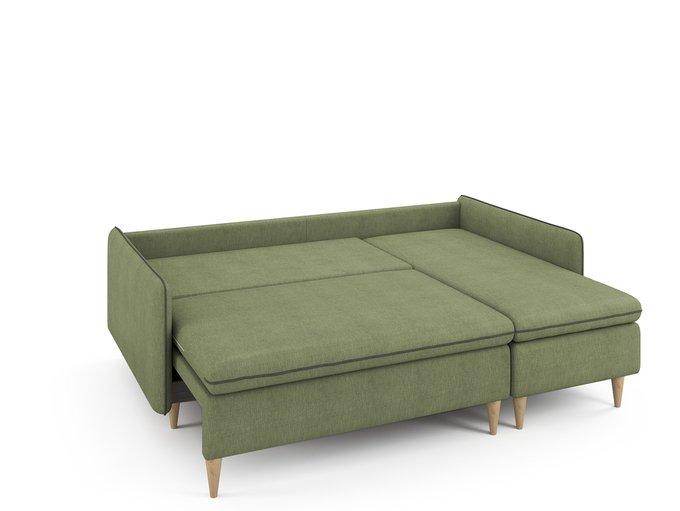 Угловой раскладной диван Ron правый оливкового цвета
