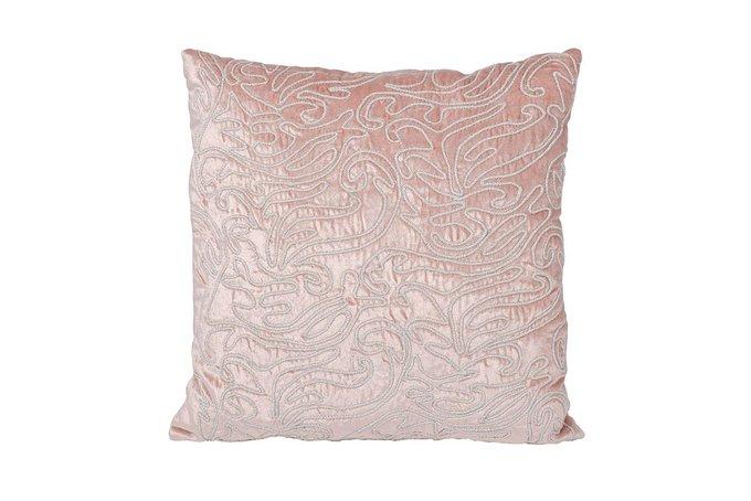 Подушка с кружевом светло-розового цвета