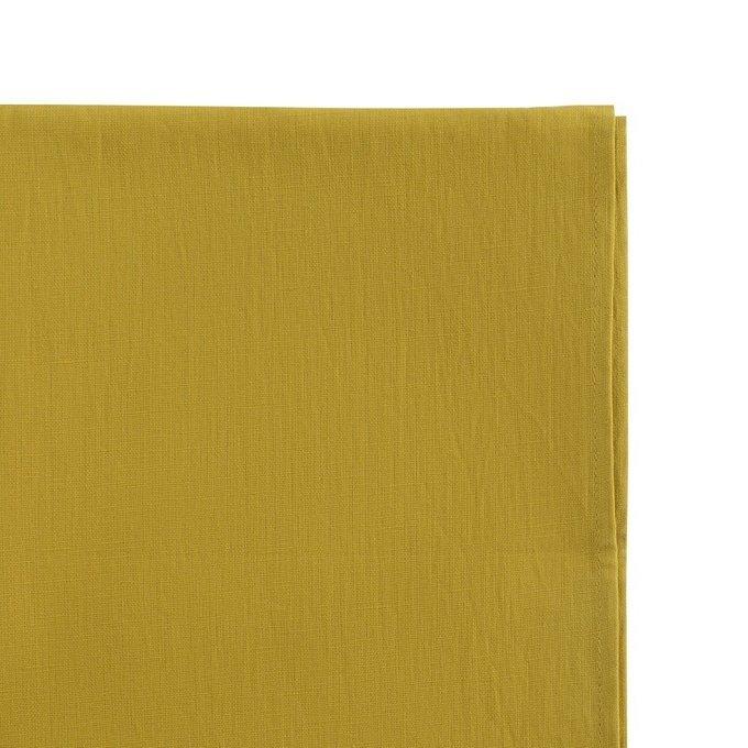 Скатерть на стол из умягченного льна с декоративной обработкой горчичного цвета