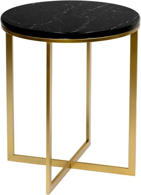 Столик кофейный из металла и мрамора
