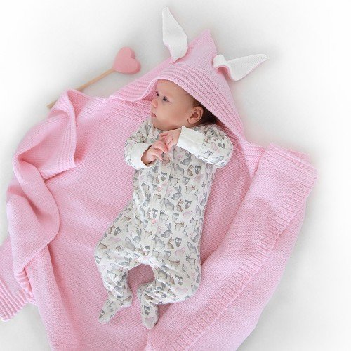 Плед Капюшон для новорожденного из шерсти с добавлением ПАН
