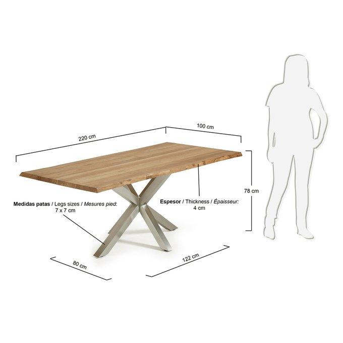 Обеденный стол Julia Grup ARYA из натурального дуба и стали