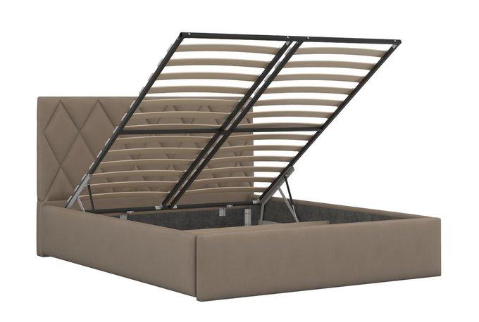 Кровать Миа бежевого цвета с подъемным ортопедическим основанием 160х200