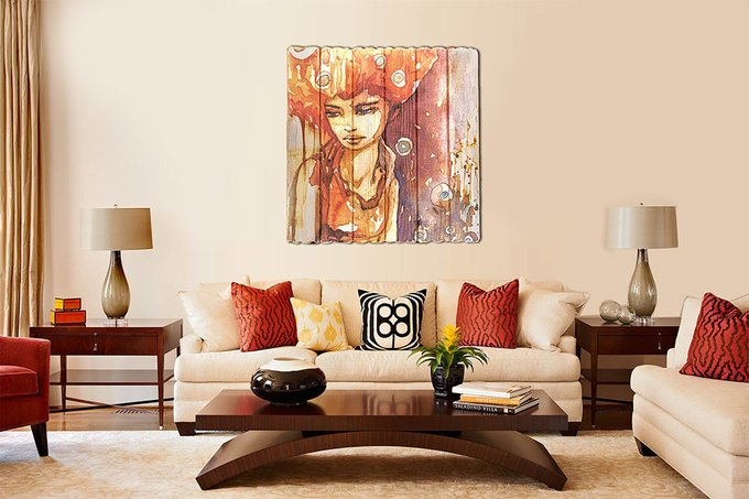 Картина на дереве Рыжая девушка 60х60 см