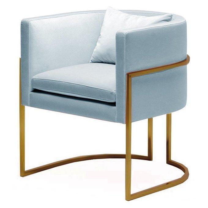 Кресло Julius chair голубое с ножками золотого цвета
