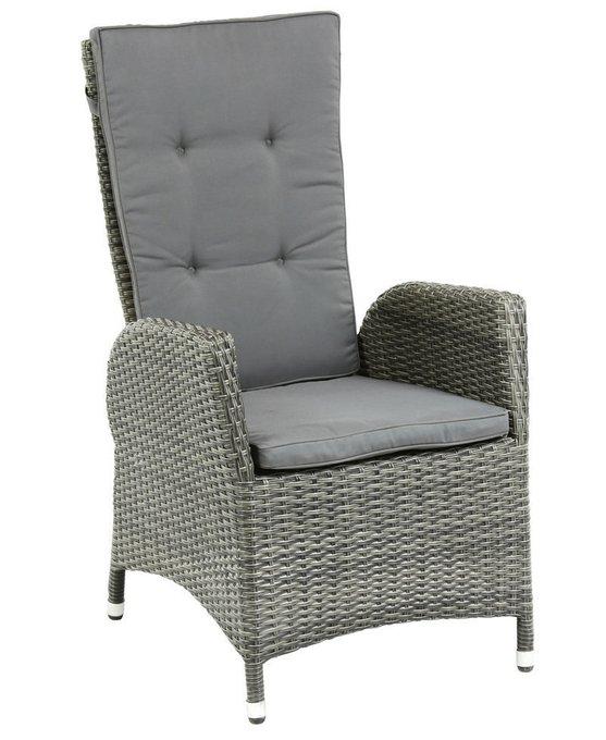 Кресло-реклайнер Menorca из искусственного ротанга серого цвета