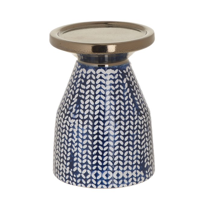 Подсвечник из керамики сине-золотого цвета