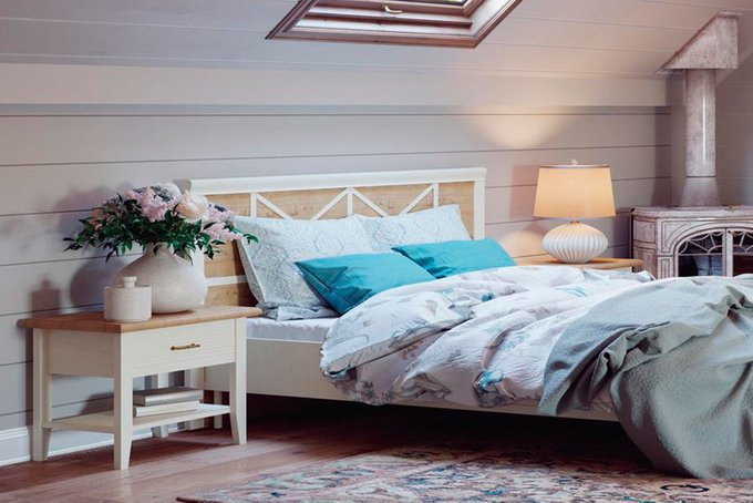 Кровать Кантри в цвете Валенсия+Дуб Бунратти 160х200