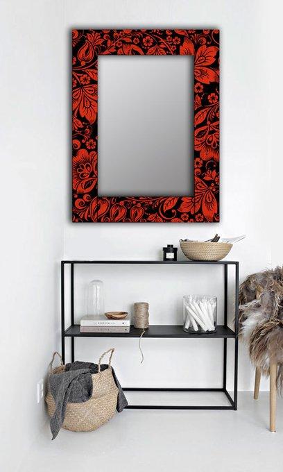 Настенное зеркало Красные цветы в раме из массива сосны 75х140