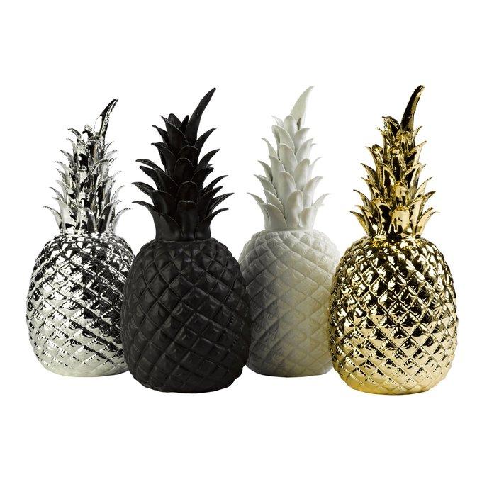 Декор Pineapple silver серебряного цвета