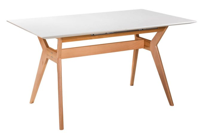 Обеденный стол раскладной Нарвик с белой столешницей