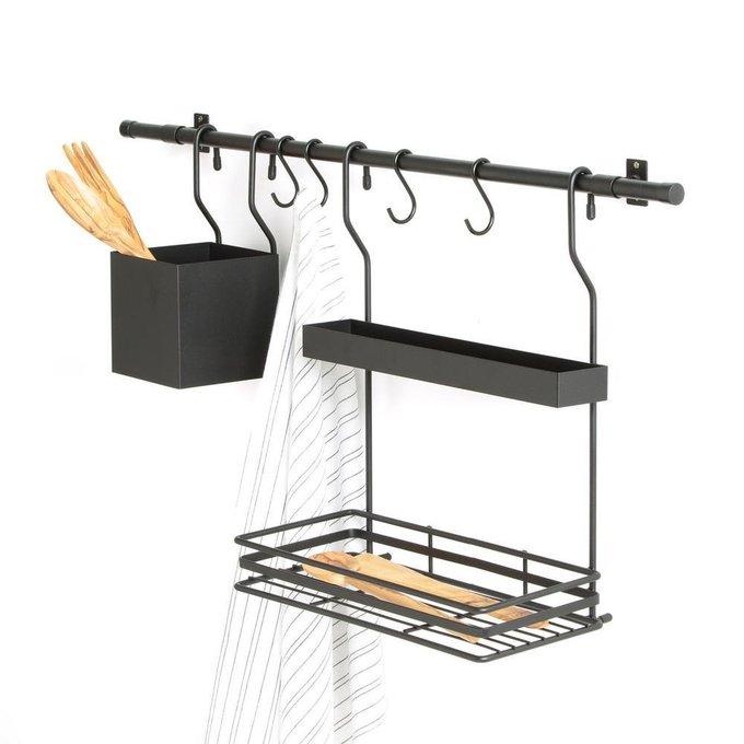 Этажерка для кухни настенная Leanis черного цвета